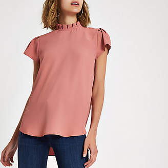 River Island Womens Pink frill neck shell top