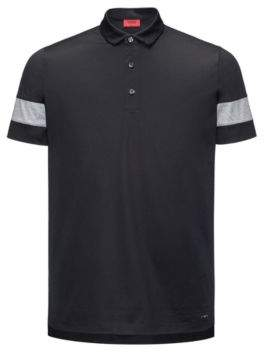 HUGO Boss Thick-Striped Mercerized Cotton Polo Shirt, Slim Fit Drooks XS Black