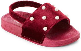 First Steps (Toddler Girls) Burgundy Faux Pearls Slingback Sandals