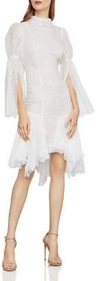 BCBGMAXAZRIA Puff-Sleeve Asymmetric Lace Dress