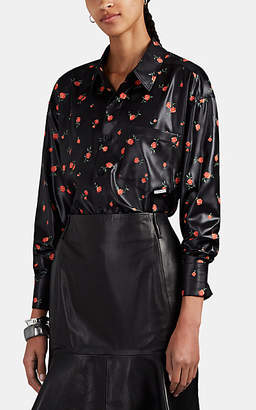 Alexander Wang Women's Floral Coated-Satin Button-Front Blouse - Peach