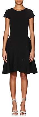 Zac Posen WOMEN'S BEADED RIB-KNIT FIT & FLARE DRESS - BLACK SIZE M