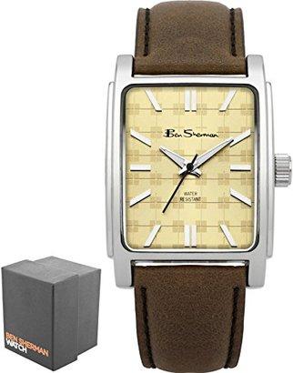 Ben Sherman (ベン シャーマン) - ベンシャーマンMen 's Quartz Watch with Beige DialアナログDisplay and Brown Fauxレザーストラップbs033