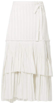 Brock Collection Ortensia Ruffled Striped Cotton-voile Wrap Maxi Skirt - Off-white