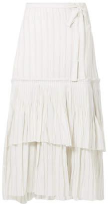 e91b8f305 Brock Collection Ortensia Ruffled Striped Cotton-voile Wrap Maxi Skirt -  Off-white