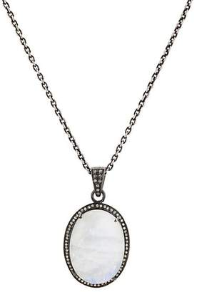 Feathered Soul Women's Moonstone & Diamond Pendant Necklace - Silver