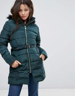 Brave Soul Padded Coat In Mid Length