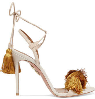 Johanna Ortiz Tasseled Two-tone Suede Sandals - Mustard
