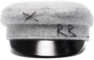 Ruslan Baginskiy Grey wool baker boy hat with embroidery