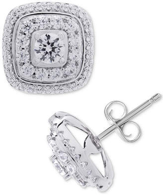 Macy's Wrapped In Love Diamond Square Halo Diamond Stud Earrings (1 ct. t.w.) in 14k White Gold, Created for