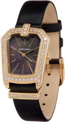Judith Ripka Stainless Steel Deco Goldtone Buckle Watch