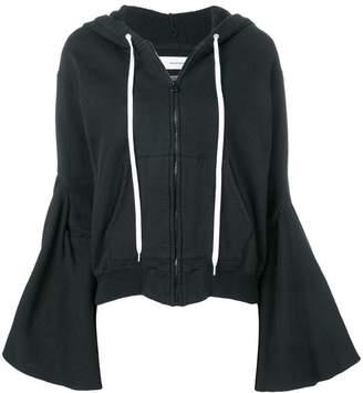 Facetasm flared sleeve zip hoodie