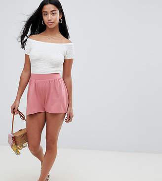 Asos Design Petite Culotte Shorts In Rose Pink