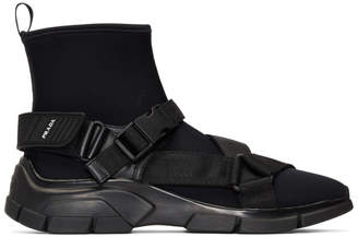Prada Black Buckled Neoprene Sock Sneakers