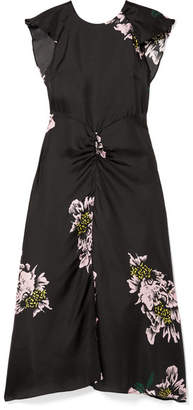 Paper London Dutch Ruched Floral-print Silk-twill Midi Dress - Black