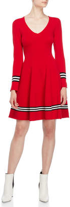 Atos Lombardini V-Neck Stripe Fit & Flare Dress
