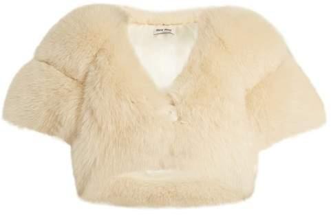 Cropped fox-fur coat
