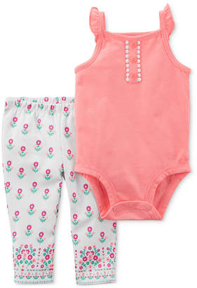 Carter's 2-Pc. Pom-Pom Bodysuit & Printed Pants Set, Baby Girls