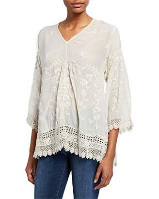 Johnny Was Women's Rayon Tunic with Tonal Embroidery
