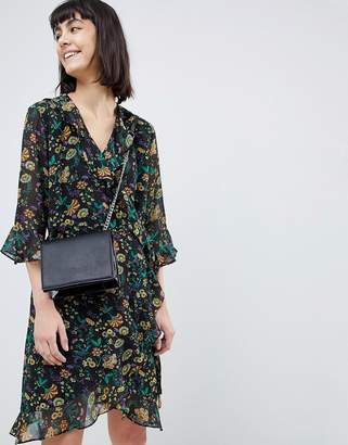 Selected floral mini wrap dress with ruffles
