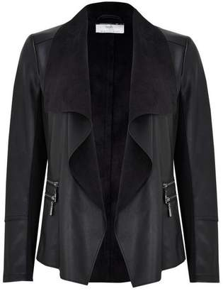 Wallis Petite Black Faux Leather Waterfall Jacket