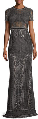 Marchesa Embroidered Lace Cap-sleeve Column Evening Gown