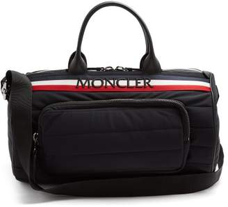 Moncler Striped Logo Embroidered Quilted Holdall - Mens - Black Multi