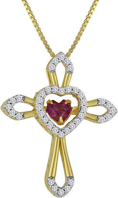 FINE JEWELRY Love in Motion Lab-Created Ruby and White Sapphire Cross Pendant Necklace