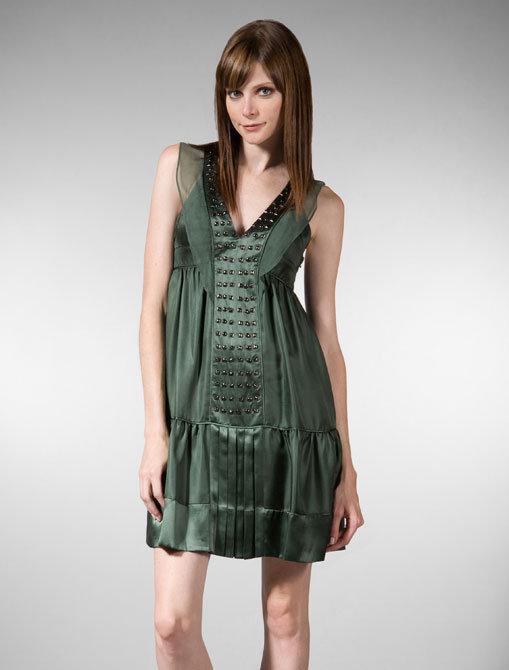 Development V-Neck Studded Boho Dress in Green
