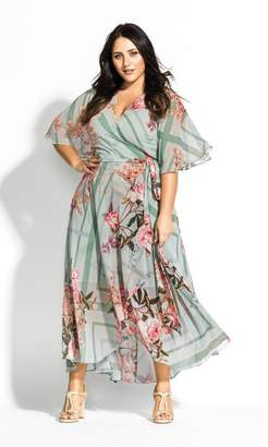 City Chic Citychic Sierra Scarf Maxi Dress - sage