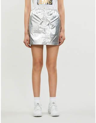 Calvin Klein Metallic logo-patch shell mini skirt