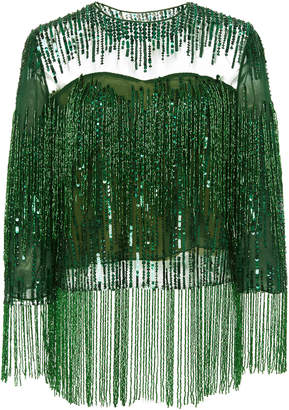 Naeem Khan M'O Exclusive Beaded Fringe Chiffon Top