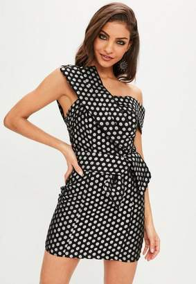 Missguided Black Polka Dot Cross Front Mini Dress