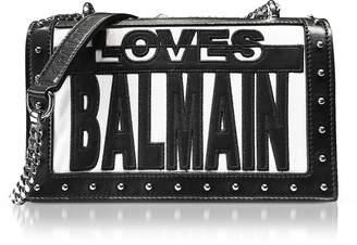 Balmain Loves Black/White Patchwork Smooth Leather Flap Bag