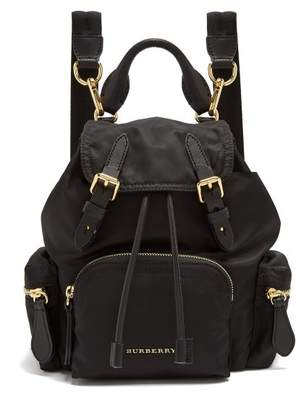 Burberry Small Nylon And Leather Backpack - Womens - Black