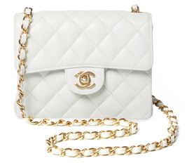 Vintage White Quilted Caviar Classic Flap Mini