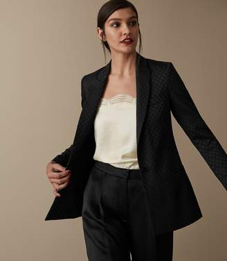 Reiss Our last order date for Christmas has now passed FORTUNA DIAMOND JACQUARD BLAZER Black