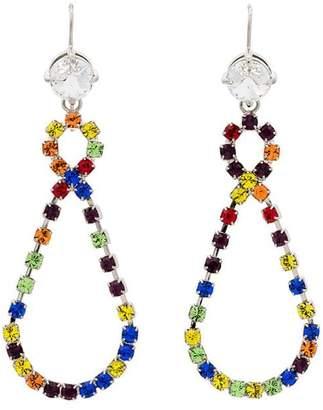 Miu Miu multicoloured rainbow crystal drop loop earrings