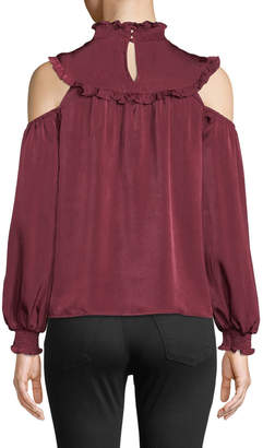 J.o.a. Cold-Shoulder Ruffle Trimmed Blouse
