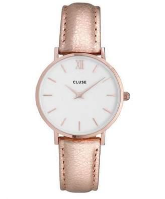 Cluse Women's Minuit 33mm Leather Band Metal Case Quartz Analog Watch CL30038