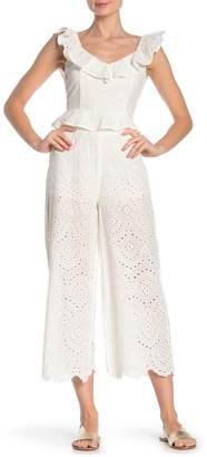 4de1cce938322 Flying Tomato Cropped Eyelet Ruffle Jumpsuit