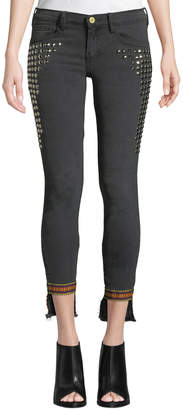 Etienne Marcel Studded Step-Hem Skinny Jeans with Trim