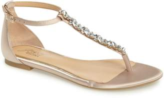 Badgley Mischka Carrol Embellished T-Strap Sandal