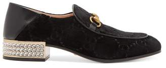Gucci Mister Gg Crystal Embellished Velvet Loafers - Womens - Black