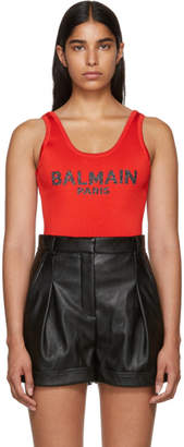Balmain Red Knit Logo Bodysuit
