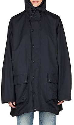 Balenciaga Women's Logo-Back Tech-Fabric Oversized Raincoat - Black