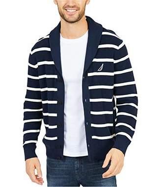 Nautica Men's Light Weight Long Sleeve Button Front Striped Cardigan