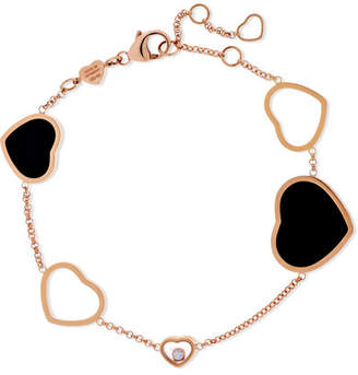Chopard Happy Hearts 18-karat Rose Gold, Diamond And Onyx Bracelet