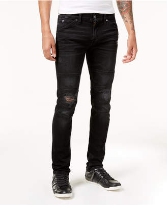 GUESS Men Slim-Fit Tapered Stretch Ripped Moto Jeans