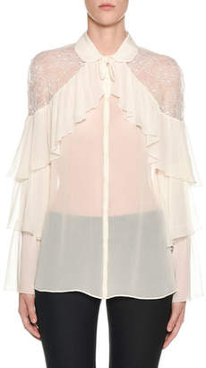 Giambattista Valli Tiered-Ruffled Lace-Yoke Chiffon Blouse